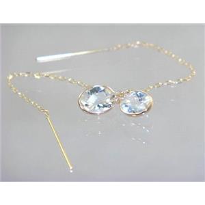 E005, Silver Topaz, 14k Gold Threader Earrings