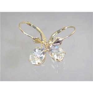 E007, Silver Topaz, 14k Gold Earrings