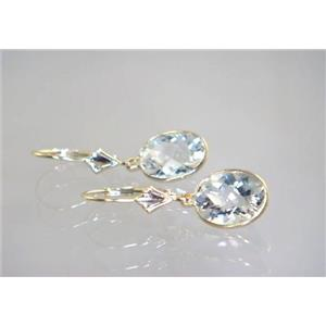 E101, Silver Topaz, 14k Gold Earrings