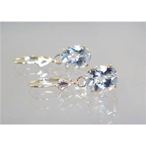 E107, Silver Topaz, 14k Gold Earrings