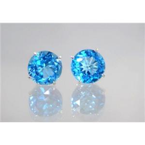 Swiss Blue Topaz, 925 Sterling Silver Earrings, SE212