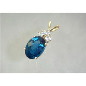 P043, London Blue Topaz 14k Gold Pendant