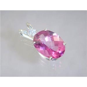 SP018, Pure Pink Topaz 925 Sterling Silver Pendant