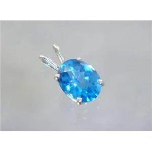 SP002, Swiss Blue Topaz 925 Sterling Silver Pendant