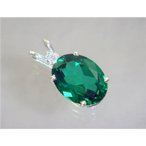 SP018, Russian Nanocrystal Emerald, 925 Sterling Silver Pendant