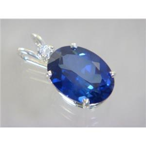 SP018, Created Sapphire 925 Sterling Silver Pendant