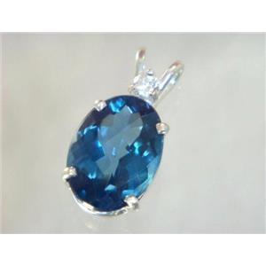 SP018, London Blue Topaz 925 Sterling Silver Pendant