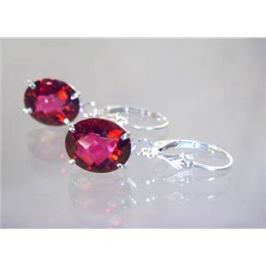 SE207, Crimson Topaz, 925 Sterling Silver Earrings
