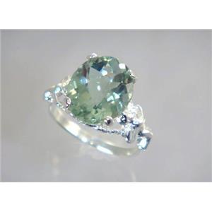 Green Amethyst, 925 Sterling Silver Ring, SR154