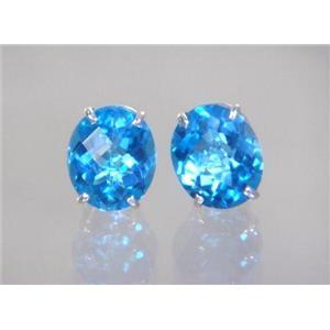 Swiss Blue Topaz, 925 Sterling Silver Earrings, SE202