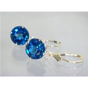 E217, London Blue Topaz, 14k Gold Earrings