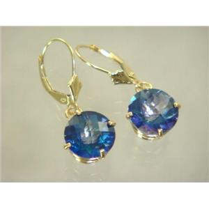 E217, Neptune Garden Topaz, 14k Gold Earrings