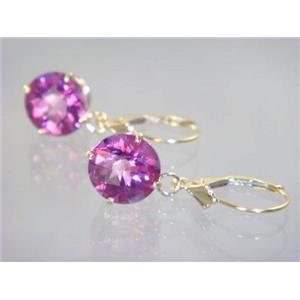 E217, Pure Pink Topaz, 14k Gold Earrings
