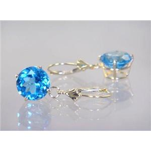 E217, Swiss Blue Topaz, 14k Gold Earrings