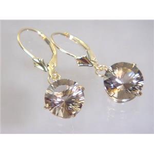 E217, Smoky Quartz, 14k Gold Earrings