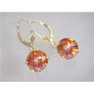 E217, Twilight Fire Topaz, 14k Gold Earrings
