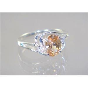 SR176, Champagne CZ, 925 Sterling Silver Ring