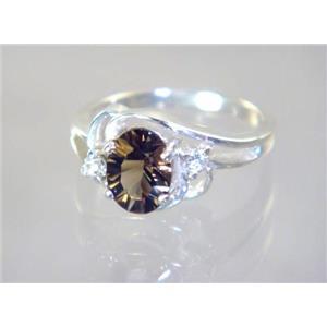 SR176, Smoky Quartz, 925 Sterling Silver Ring