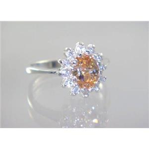 SR235, Champagne CZ, 925 Sterling Silver Ring