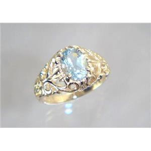 R113, Aquamarine, Gold Ring