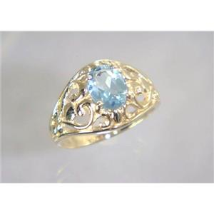 R111, Aquamarine, Gold Ring
