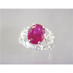SR162, Created Ruby, 925 Sterling Silver Ring