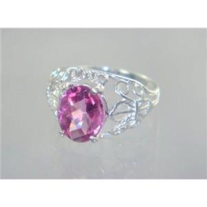 SR162, Pure Pink Topaz, 925 Sterling Silver Ring