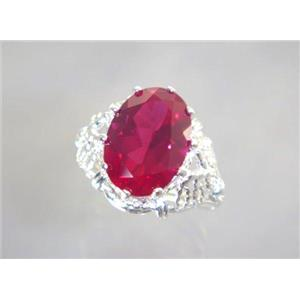 SR260, Created Ruby, 925 Sterling Silver Ring