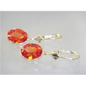 E101, Padparadsha Sapphire, 14k Gold Earrings