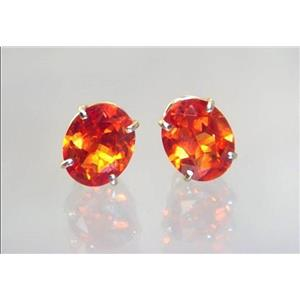 E102, Padparadsha Sapphire, 14k Gold Earrings