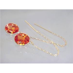 E105, Padparadsha Sapphire, 14k Gold Threader Earrings