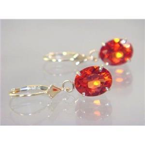E107, Padparadsha Sapphire, 14k Gold Earrings