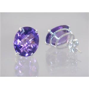 925 Sterling Silver Post Earrings, Amethyst, SE202
