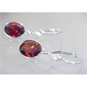 SE101, Garnet CZ, 925 Sterling Silver Earrings