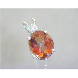 SP022, Twilight Fire Topaz 925 Sterling Silver Pendant