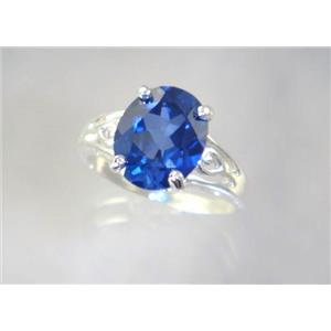 SR139, Created Blue Sapphire, 925 Sterling Silver Ring