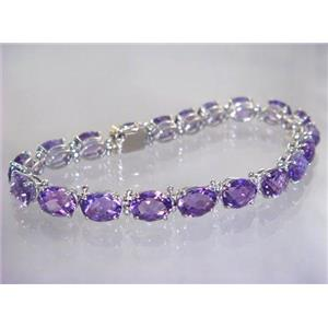 SB002, Amethyst, 925 Sterling Silver Bracelet