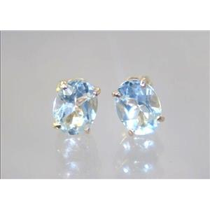 E002, Aquamarine, 14k Gold Earrings