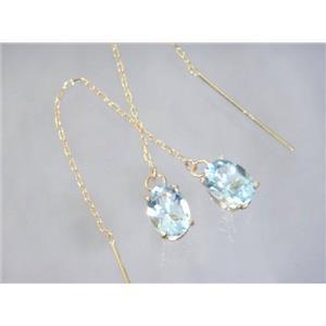 E003, Aquamarine, 14k Gold Threader Earrings