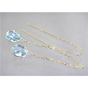 E005, Aquamarine, 14k Gold Threader Earrings