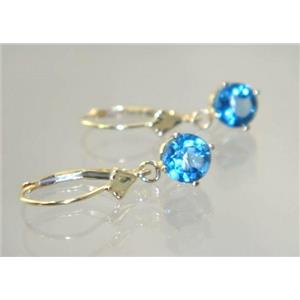 E017, London Blue Topaz, 14k Gold Earrings