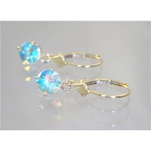 E017, Mercury Mist Topaz, 14k Gold Earrings