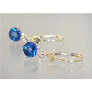 E017, Neptune Garden Topaz, 14k Gold Earrings