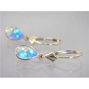 E021, Mercury Mist Topaz, 14k Gold Earringss