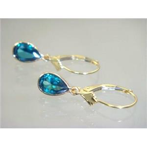 E021, Paraiba Topaz, 14k Gold Earringss