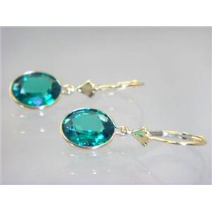 E101, Russian Nanocrystal Emerald, 14k Gold Earrings