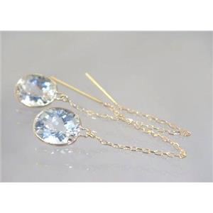 E105, Silver Topaz, 14k Gold Threader Earrings
