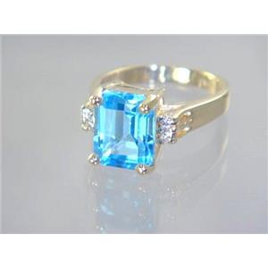 R221, Swiss Blue Topaz, Gold Ring