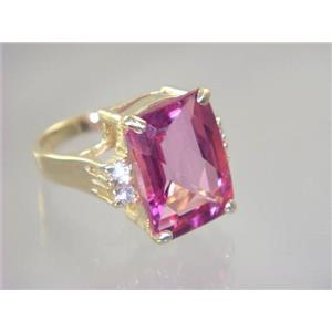 R201, Pure Pink Topaz, Gold Ring
