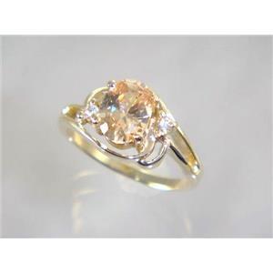 R176, Champagne CZ, Gold Ring